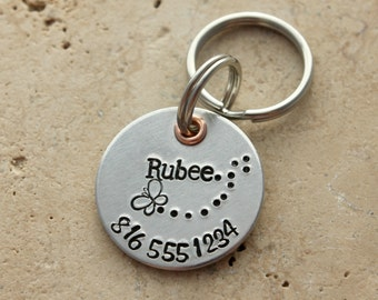 Dog Tag - Dog Name Tag - Pet ID Tag - Dog Collar Tag - Personalized Dog Tag - Custom Pet Name Tag - Hand Stamped Dog Tag - Puppy Tag - Rubee