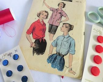 Vintage Shirt Pattern, Advance Pattern, 50s Pattern, 50s Shirt Pattern, Vintage Pattern, Advance 8254, 50s, Top, Button Up Shirt, Ladies