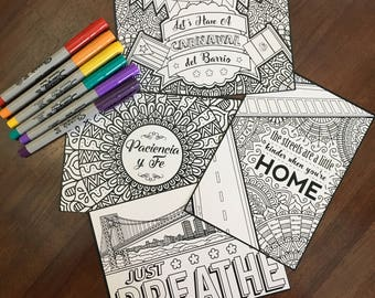 In the Heights, DIGITAL DOWNLOAD, Set Of 4, Broadway, Coloring Pages, Musical, Theater, Hand-drawn, Gift, Musical Theater, Printable