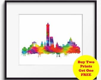 Bologna Skyline, Watercolor Art Print (262)Bologna Cityscape,Bologna, Italy Art Print,Bologna Art Print, Bologna Poster, Abstract Art Print