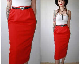 Vintage 1970s High Waist Red A-Line Pure Virgin Wool  Midi Skirt with Pockets - Sz 12 - MR JAX - Made in Vancouver Canada