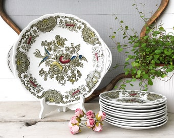 Vintage Ridgway Windsor, Cake Set, English Ironstone Plates, Staffordshire England Tableware, Green brown Transferware, 60's Farmhouse Kitch