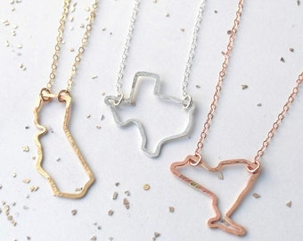 california texas new york love custom state silhouette necklace gold rose filled sterling silver
