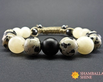 Onyx beaded bracelet Healing energy stone Yoga unisex bracelet Onyx jasper jewelry Beige black jewelry Shungite stone bead Woven bracelet