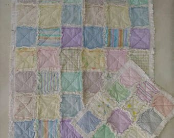 Baby Rag Quilt in Soft Pastel Shades, Handmade Quilt, with Lovey