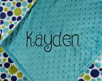 Personalized Baby Blanket, Minky Blanket, Personalized Name Blanket, Teal Blanket, Polka Dot Blanket, Choose Your Colors, Choose Your Size