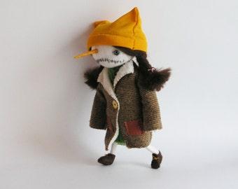 OOAK Art Doll Snowman, Christmas Snowwoman, Snowman Doll, Christmas Gift, Christmas Decor