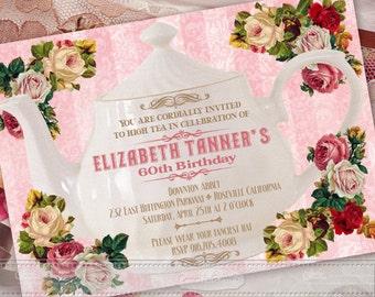 birthday party invitations, Victorian birthday party invitations, Victorian wedding invitations, pink tea party, Victorian retirement, IN372
