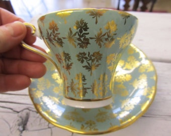 Aynsley Sage and Gold Chintz Cup and Saucer 1930s C2457