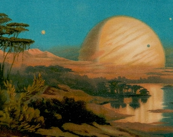 """Antique Astronomy print.1898.Lithograph.View of Jupiter from one of its moons.120 year old print.Old Astronomy print.6.6x9.8"""" or 17x25 cm."""