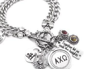 Personalized Sorority Bracelet, Sorority Motto, Custom Sorority Charm Bracelet, Sorority Gift, Your choice of Sorority, Greek Letters