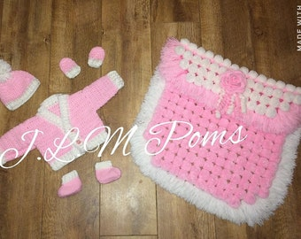 Handmade Pom Pom blanket with cardigan mittens hat and booties