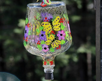 Bright and Cheery Hand Painted Butterfly Garden Crown Royal Hummingbird Feeder with Flower Feeding Tube
