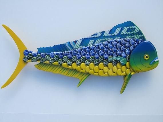 Mahi Mahi Fish Art Bottlecap Metal Wall Dolphin Fish