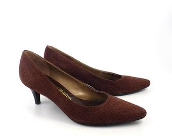 Ferragamo Heels Shoes Vintage 1980s Suede Print Leather Detail Women's size 7 B