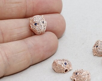 2 Pcs Micro Pave Leopard Beads, Cat Beads, Cubic Zirconia Leopard , Leopard Head Bads, Bracelet Connectors , Cz Pave Leopard, zrcn208