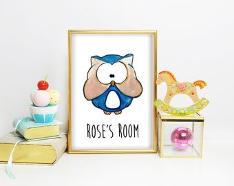 Woodland Owl Print, Woodland Nursery, Art Print, Nursery Name Sign, Baby Nursery Name Signs, Owl Print, Nursery Print, Owl Decor for Babies
