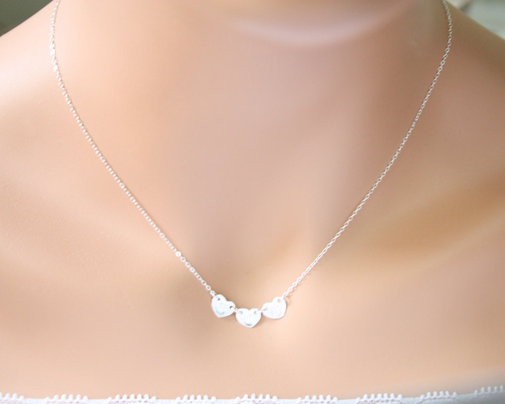 Customized initial three hearts necklace all sterling silver zoom mozeypictures Image collections