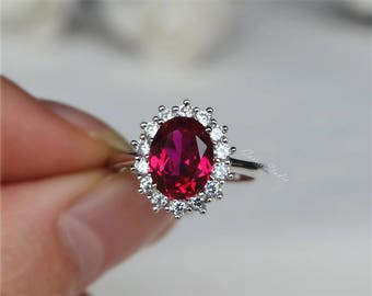 Royal Style Oval Ruby Ring Lab Ruby Engagement Ring/ Wedding Ring 925 Sterling Silver Ring Anniversary Ring Promise Ring