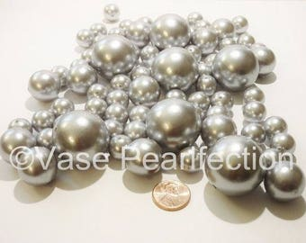 All Silver/Grey Pearls - Jumbo/Assorted Sizes Vase Fillers for Centerpieces