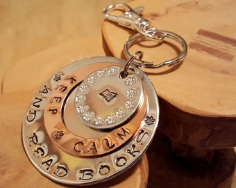Keep Calm and Read Books hand stamped triple layer jumbo keychain ... great gift idea for teachers librarians bibliophiles