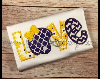 LSU Inspired Love Applique Shirt, Girl's Purple and Gold Love Applique Shirt