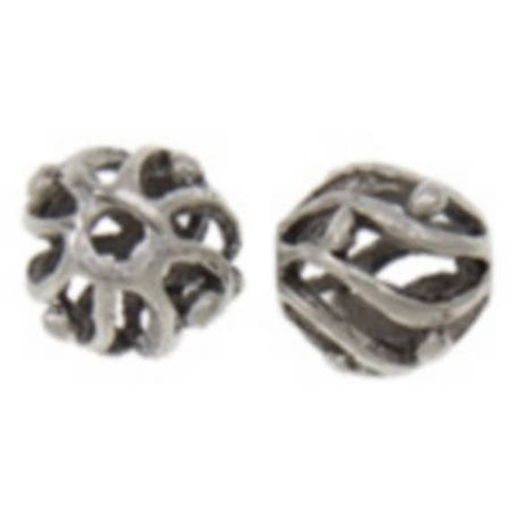 Set of 5 beads hollow metal - silver color - 10 x 12 mm
