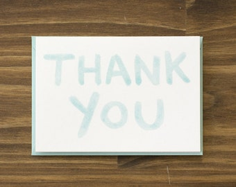 pale teal aqua watercolor thank you card