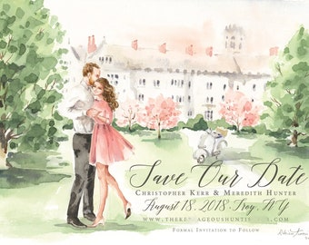 Watercolor Save the Date - Portrait Illustration, Bride and Groom, Watercolor Wedding Portrait, Couple, Engagement Announcement by Rhian