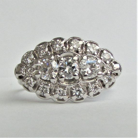 Excellent Princess Ring Vintage Diamond Princess Ring 1.05 Carat of LM85