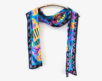 90's Ken Done Tropical Long Silk Scarf