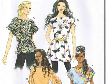Easy Loose Fit Pullover Tops Tunics Sash Sleeve Variations Butterick 5463 Sewing Pattern Size 16 18 20 22