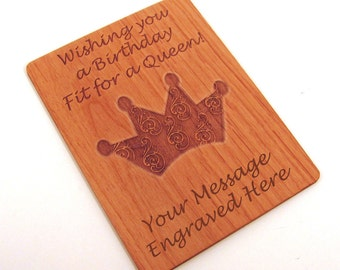 Real Wood Birthday Card - Fit for a Queen - Laser Engraved Laser Cut