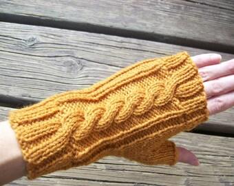 Wool Cable Knit Fingerless Gloves Pumpkin