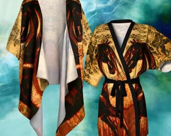 Horse Kimono Cardigan - Horse through Web of Fire Batik