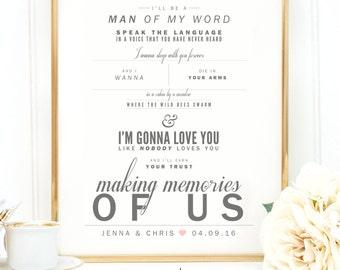 "Gray & Blush, Keith Urban ""Making Memories of Us"" - Valentine's, Wedding Gift, Paper Anniversary Gift, Song Lyrics, Art Print"
