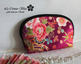 """7""""x4.7"""" make up pouch - cosmetic pouch - golden Fucsia pink & blue - Akane"""
