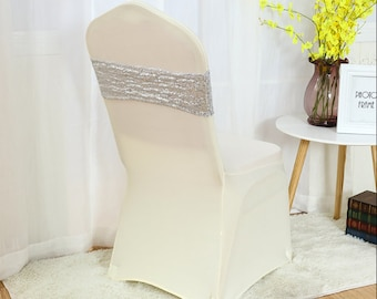 Silver Glitter Sequin Chair Bands Chair Sashes Chair Bow Ribbon Wedding Engagement Birthday Anniversary Party Reception Bouquet Decorations