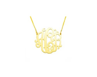 "10YMono083 - 10K Yellow Gold  0.83"" Monogram Necklace (0.4mm thin)"