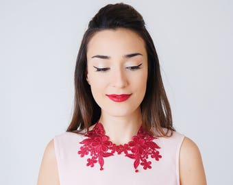 Vintage Gift  Peter Pan Collar Lace Collar Burgundy Collar Statement Necklace Gift For Her Sister Gift/ SHIRA
