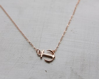 Rose Gold Anchor Charm Necklace, Rose Gold Sideways Anchor Necklace, Pink Gold Anchor Jewelry, Gift for Mom Wife Girlfriend  Best Friend