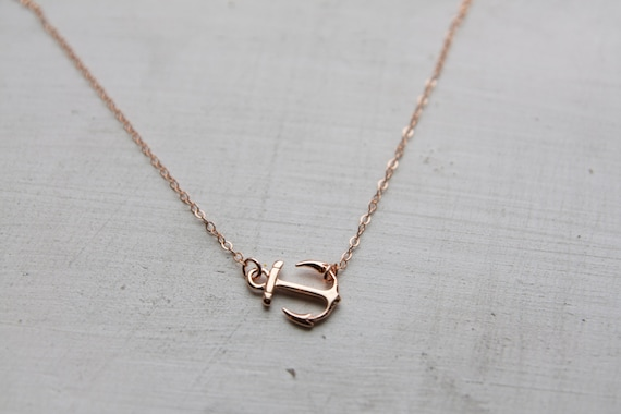 Rose Gold Anchor Charm Necklace Rose Gold Sideways Anchor
