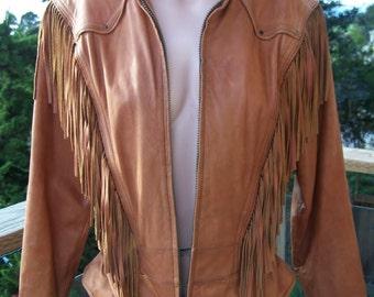 Fringe Leather Jacket, Wilsons Leather coat, Honey Tan Jacket, Caramel fringe jacket, size M