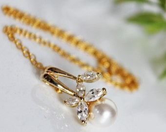 Gold-filled Pearl Drop Bridal Pendant, Pearl Wedding Necklace, Crystal Drop Bridal Necklace, Bridesmaids Pearl Pendant, Mother of the Bride