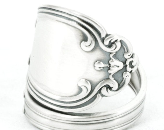 """Art Nauveau Ring, Sterling Silver Spoon Ring, Antique Gorham's """"Lenox"""" ca 1897, Upcycled Handmade Gift for Her, Adjustable Ring Size (7083)"""