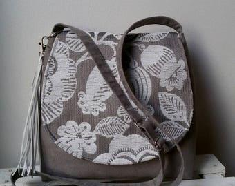 Gray and white messenger bag Flower messneger bag Vegan crossbody bag Gray floral bag Medium sized bag Boho crossbody bag Christmas gift