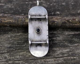 Skateboard necklace / sterling silver skateboard / gift for him / skater jewelry / skateboarder gift / skateboard deck / skateboard art