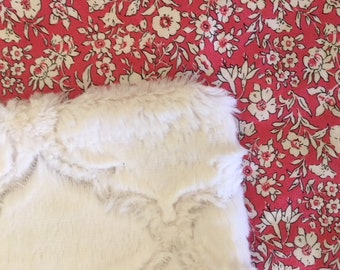 NEW Liberty Fabrics! Baby Lovey Security Blanket Liberty Faux Fur Cutest  Red Roses So soft!  Nursery Stroller Shower gift