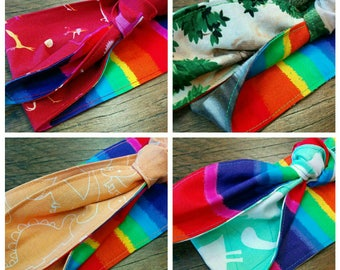 reversible dinosaurs rainbow vintage style headwrap one size fits most | love is love | pride accessories READY TO POST