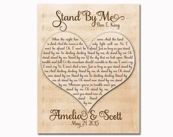 Customized anniversary wedding present song lyrics wall art decor first dance vows poster heart shaped typography print Valentine's Day gift